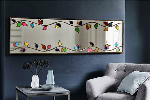 Symmetrical design lead overlay stained glass mirror 150 x 50