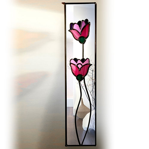 Purple Floral lead overlay stained glass mirror 20 x 71 cm