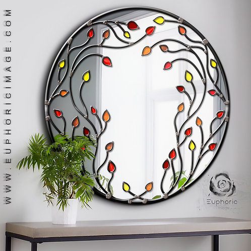 Round Stained glass Branches Design mirror measuring 70 cm