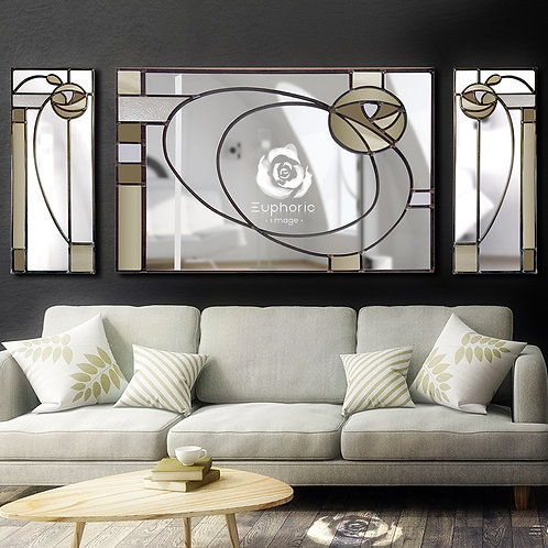 Trio Stained glass Mackintosh inspired mirror measuring 162 x 76 cm