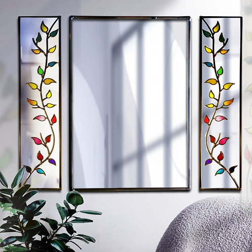 Trio Branch Design Lead Overlay Stained Glass Mirrors  125 x 91 cm