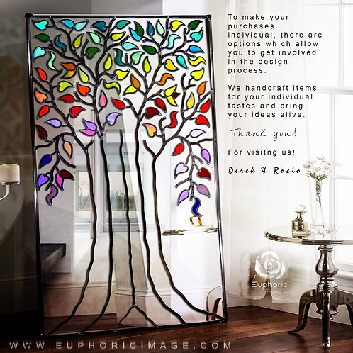 Large Multi-Coloured Lead Overlay Tree Life Mirror 76 x 112cm