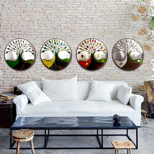 Round Four Season Trees Design Stained Glass Mirrors. 55 cm each