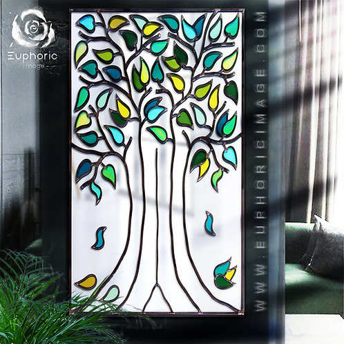 Portrate Lead Overlay Tree Mirror With Green Summer Colours 46 x 76 cm