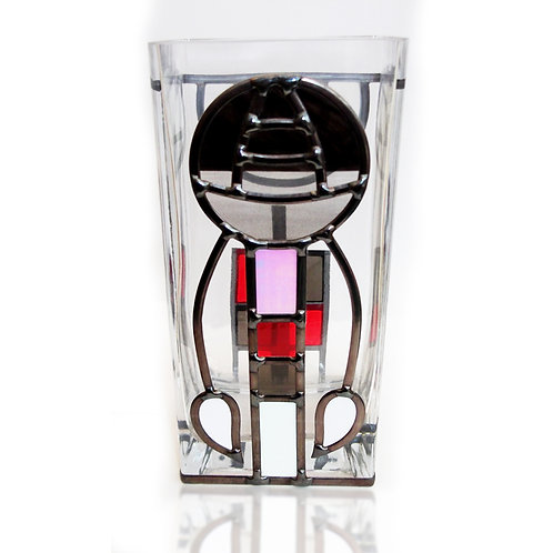 Handcrafted Mackintosh inspired lead overlay stained glass Vase