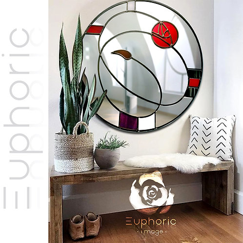 Round Stained glass Mackintosh inspired mirror