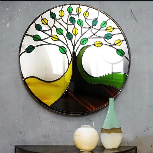 Round Summer Tree Design Stained Glass Mirror 55 cm
