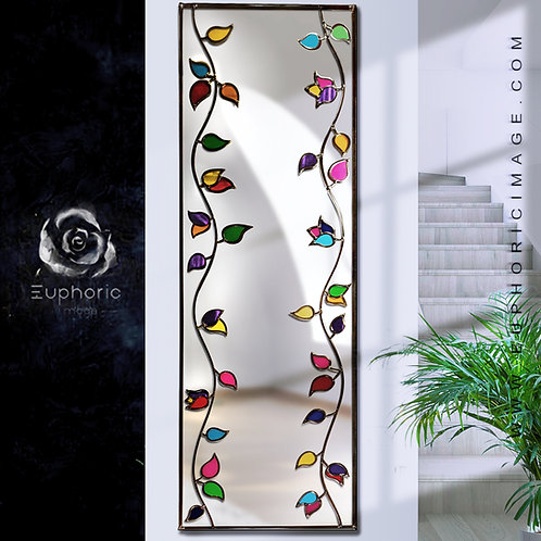 Long Symmetrical Branches design lead overlay stained glass mirror 50 x 150 cm
