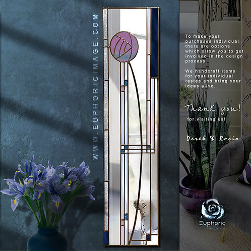 Mackintosh Design lead overlay stained glass mirror 30 x 120 cm.