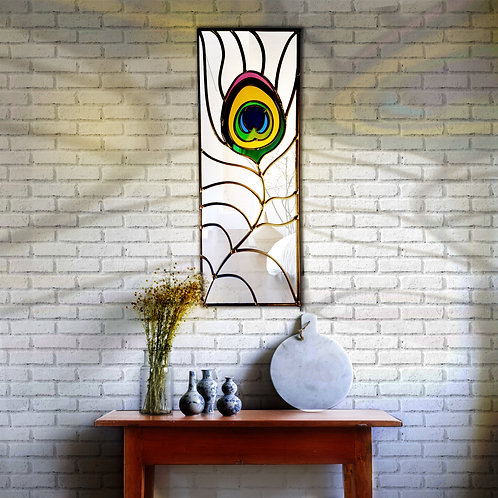 Peacock lead overlay stained glass mirror 40 x 70 cm