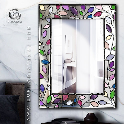 Leaf Frame Design Lead Overlay Stained Glass Mirror 59 x 79 cm