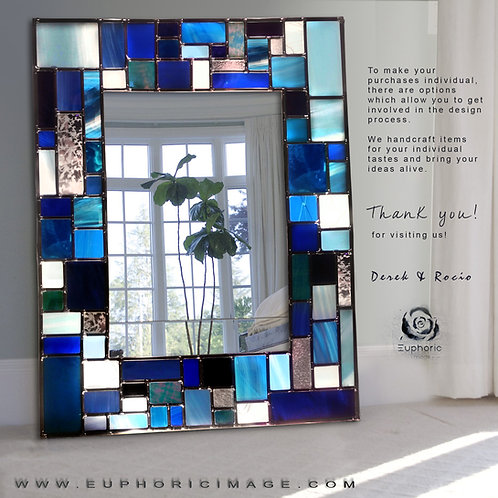 Blue Mosaic design lead overlay stained glass mirror