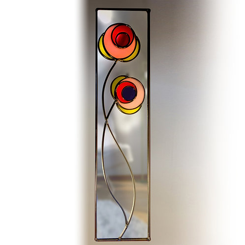 Circles Floral lead overlay stained glass mirror 20 x 71 cm