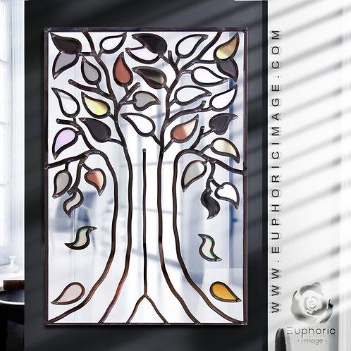 Portrait Lead Overlay Black & White/Gold Tree Mirror 40 x 70 cm