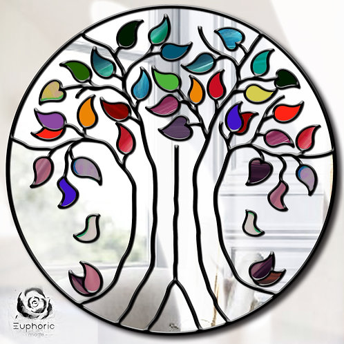Round Stained glass Tree of Life Design mirror
