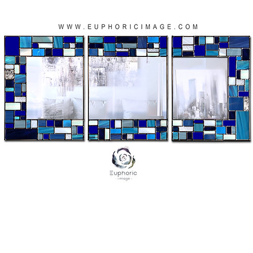 Trio Blue Mosaic design lead overlay stained glass mirror