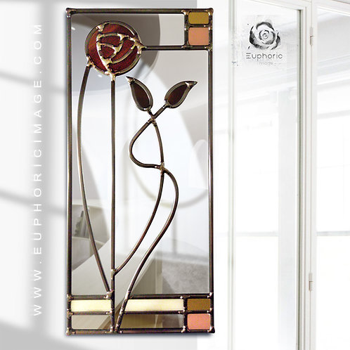 Mackintosh Flower Design lead overlay stained glass mirrors 17 x 39 cm