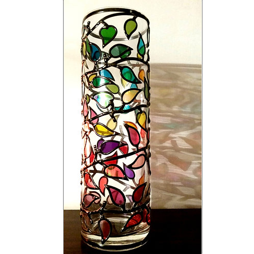 Handcrafted Colourful Leaves Branch Lead Overlay Stained Glass Vase  24 x 10 cm
