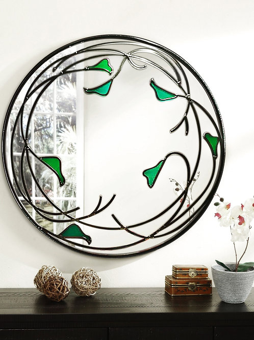 Round Stained glass calla lily flower Design mirror