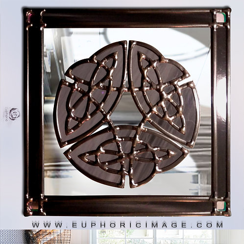Celtic Design Lead Overlay Stained Glass Mirror 50 x 50 cm