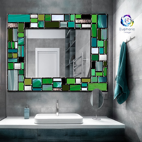 Green Mosaic design lead overlay stained glass mirror