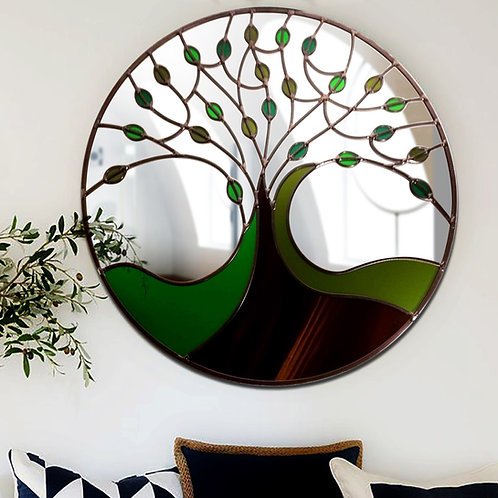Round Spring Tree Design Stained Glass Mirror 55 cm