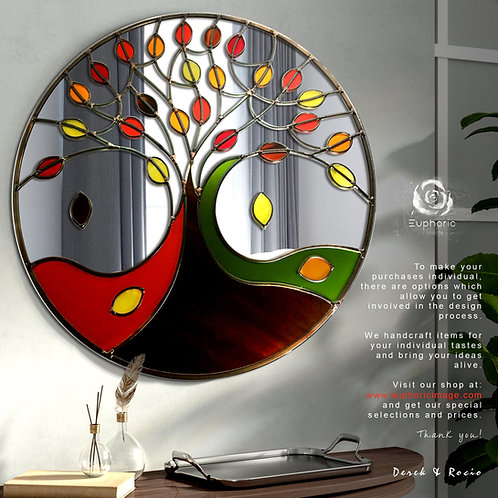 Round Stained glass Autumn Tree of Life Design mirror