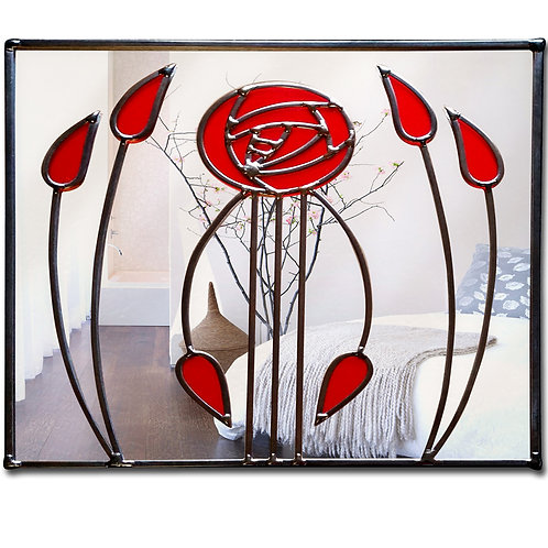 Stained glass Mackintosh square mirror 71 x 46 cm