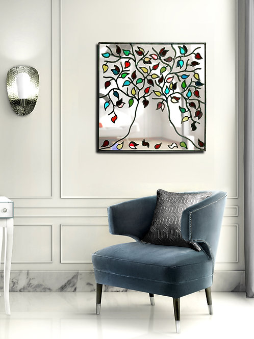 Square medium sized Stained glass tree mirror multi coloured 56 x 56 cm.