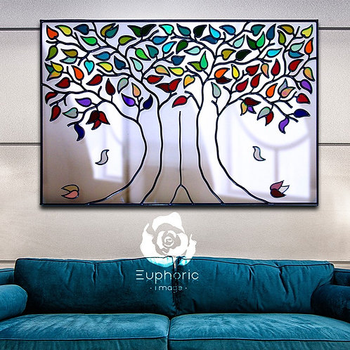 Landscape multi-coloured lead overlay tree mirror 91 x 71cm