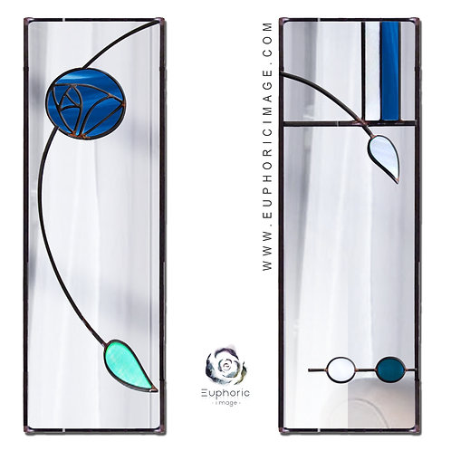 Pair of Stained glass Mackintosh inspired portrait Mirrors 17,5 X 61 cm.