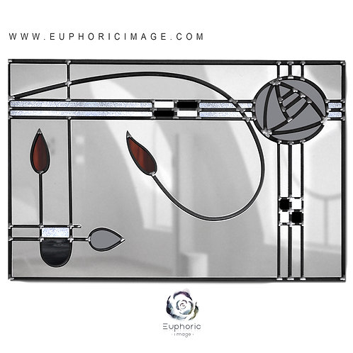 Landscape Stained glass Mackintosh inspired mirror