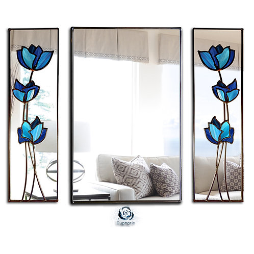 Trio Blue Flowers Stained Glass Mirrors  125 x 91 cm