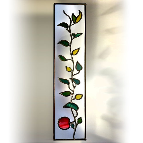Apple Branch design lead overlay stained glass mirror 15 x 71 cm