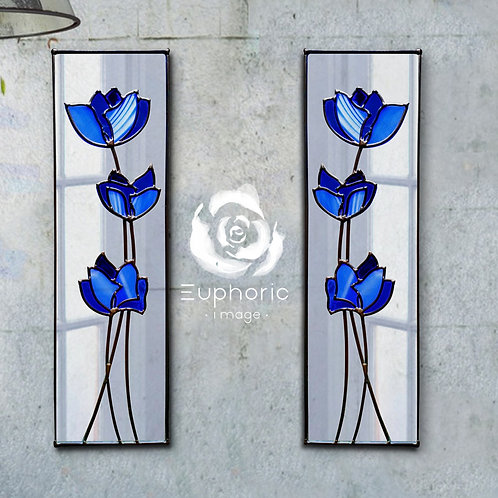 Pair of Blue Flowers lead overlay stained glass mirror 25 x 82 cm each