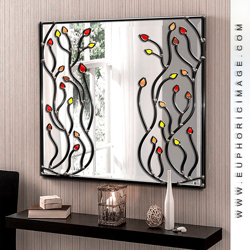 Square Stained glass Branches Design mirror measuring 70 x 70 cm