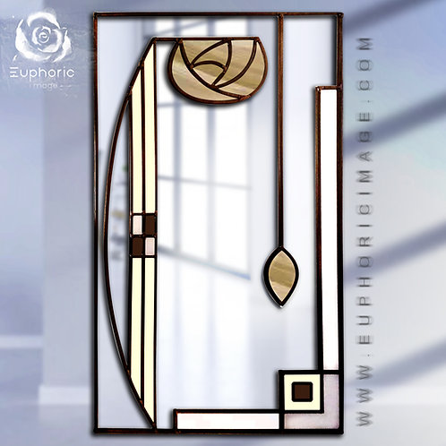 Gold Stained glass Mackintosh inspired portrait mirror