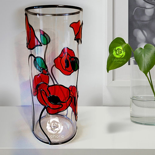 Handcrafted Poppy design lead overlay stained glass Vase