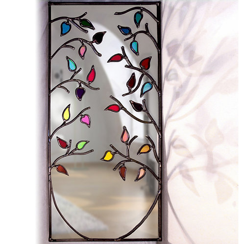 Duo of Tree Around lead overlay stained glass mirrors 36 x 71 cm each