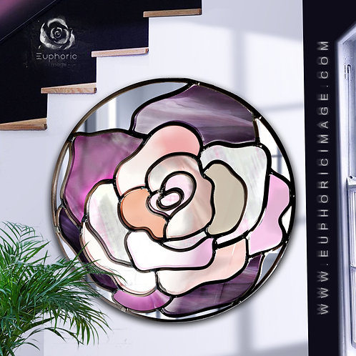 Round Lead Overlay Stained Glass Rose Mirror