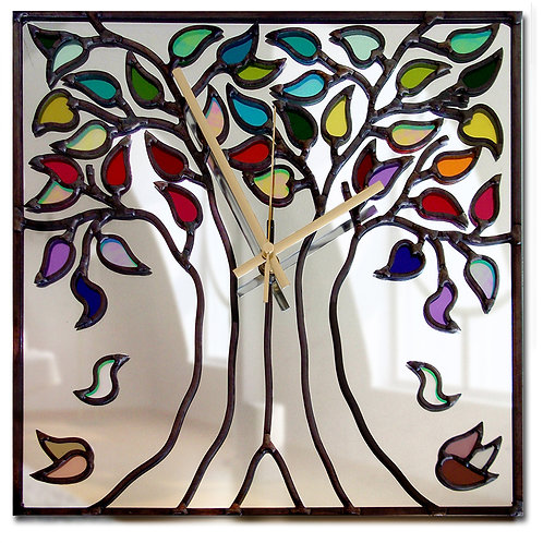 Square lead overlay stained glass tree mirror clock 35 x 35 cm