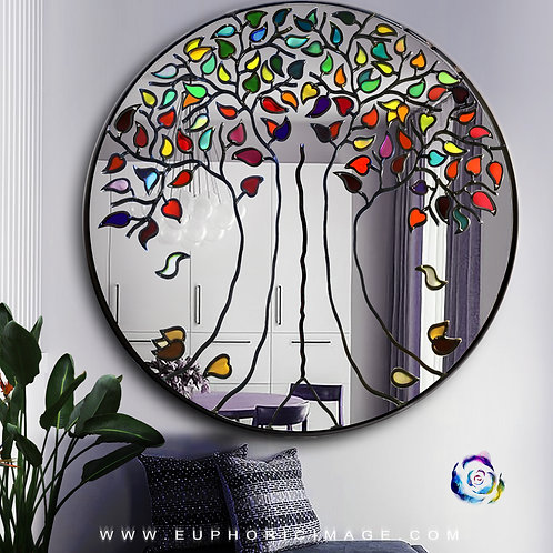 Round Tree Lead Overlay Stained Glass Mirror
