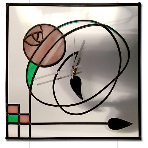Mackintosh inspired lead overlay stained glass mirror clock 30 x 30 cm