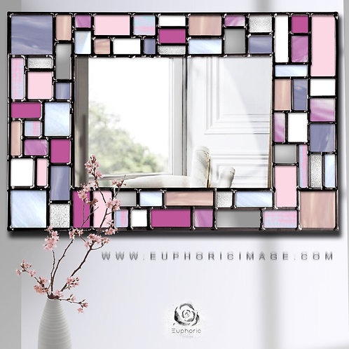 Pink Shadows Mosaic design lead overlay stained glass mirror