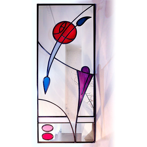 Long Stained glass Mackintosh inspired mirror