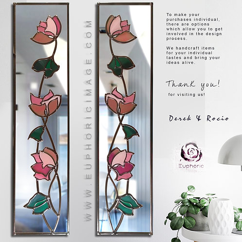 Pair of Pink Abstract Flowers lead overlay stained glass Mirrors 25 x 91 each