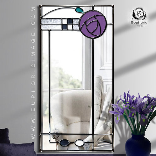 Stained glass Mackintosh inspired mirror