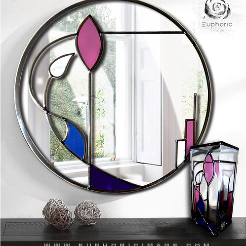 Set of Stained glass Mackintosh inspired mirror and Vase.