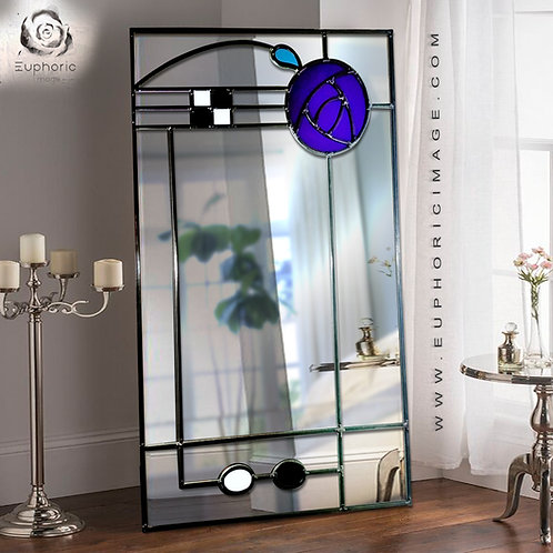 Stained glass Mackintosh inspired portrait mirror