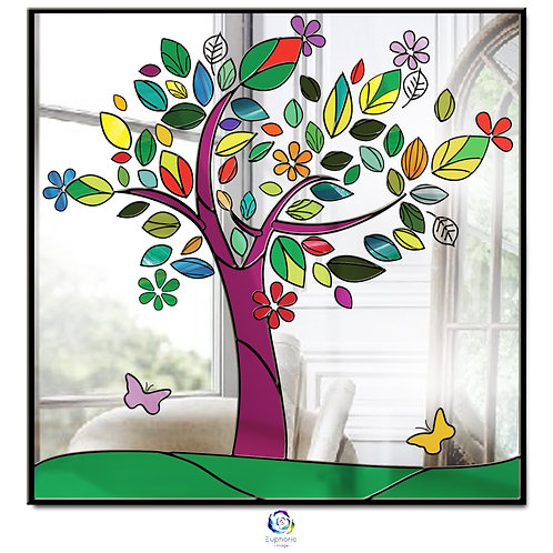 Square Tree Life Stained glass multi coloured mirror 65 x 65 cm.